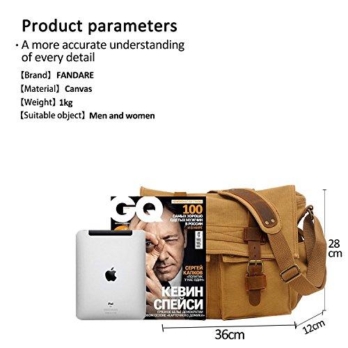FANDARE Neu Retro Messenger Bag Umhängetasche Schultertasche 14 Zoll Laptoprucksäcke Herren Frauen Tasche Kuriertasche Multifunktions Canvas Braun Khaki