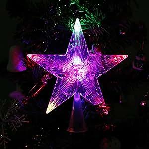 SOLMORE Natale Stella albero di Natale glitterato a forma di stella glitter decorativo lanterna 220V
