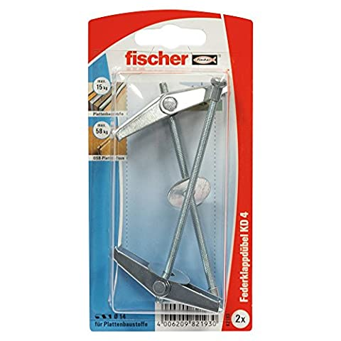 Fischer 82193 KD 4 K Metal Spring Toggles with Threaded Rods - Multi-Colour (2-Piece)