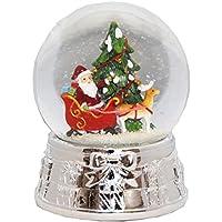 20075 Palla di neve albero di Natale Babbo Natale Argento Base Music Box, 140 mm