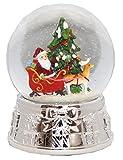 Minium Collection 20075 Schneekugel Tannenbaum Santa mit geprägtem Silber-Sockel groß mit Spieluhr
