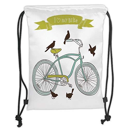 LULUZXOA Gym Bag Printed Drawstring Sack Backpacks Bags,Bicycle,I Love My Bike Concept with Birds on The Seat Cruisers Basic Vehicle Simplistic Art,Green Blue Soft Satin -