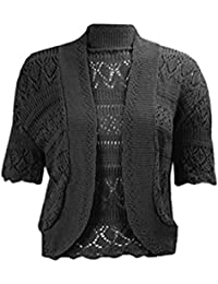 e409a6586a3ef3 RIDDLED WITH STYLE New Women's Crochet Knitted Bolero Shrug Open Front  Cardigan Top Size. UK