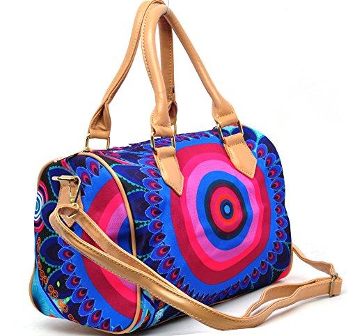 borsa spalla donna ragazza fantasia tracolla grande shopping colorata effetto jeans