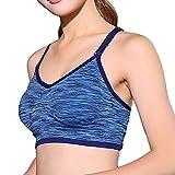 ALAIX Mujer Seamless Racerback acolchados deportivos sujetador de apoyo de entrenamiento Yoga sujetador azul