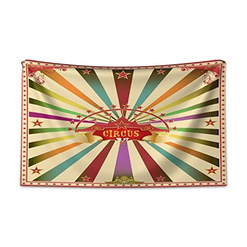 ABAKUHAUS Zirkus Wandteppich und Tagesdecke, Einladung Vintage Zelt aus Weiches Mikrofaser Stoff Kein Verblassen Klare Farben Waschbar, 230 x 140 cm, Mehrfarbig
