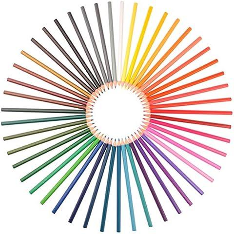 Set de 48 Lápices de Acuarela - Colores Vibrantes y Variados, Usados por Artistas, Diseñadores y Adultos que Disfruten Colorear. Brocha y Afilador Gratuitos. Puntas Fuertes, Fáciles de Mezclar. No Tóxicos. Reembolso