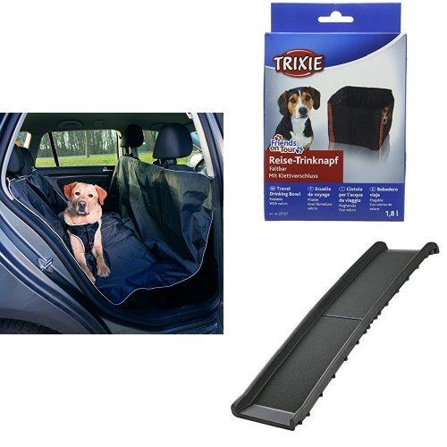 Trixie 13472 Auto-Schondecke, schwarz  + Trixie Reise Schüssel, 1,8Liter,, schwarz, 4Stück + Trixie 3939 Klapp-Rampe
