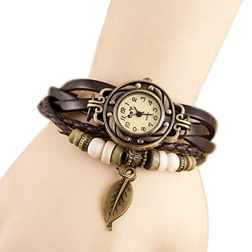 Hosaire Bonita Vida tejido circundando de pulsera de cuero para senora mujer reloj de pulsera Caqui