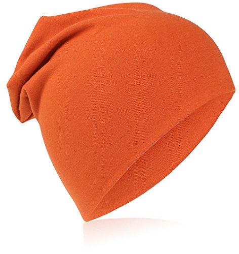 Berretto lungo in jersey, da bambino, unisex, in cotone, tinta unita orange x-small