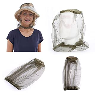 Diswoe Mosquito Mask, Anti-mosquito Bee Bug Insect Fly Mask Cap with Head Net Mesh Face Protection Outdoor Fishing Equipment Camping Hat Insect Repellent Netting Sun Hat