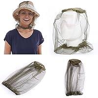 Diswoe Masque de moustique, Unisexe Insect Head Net Outdoor Midge Anti Mosquito Insect Moustiquaire Tête Protection du visage Casquette Maille Chapeau de pêche