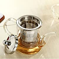 360ml Heart Resistant Clear Glass Tea Pot Tea Kettle With Stainless Steel Infuse