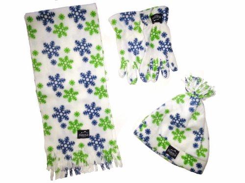 Preisvergleich Produktbild WINTER Fleece Set 4- teilig für Kinder - bestehend aus 1 Schal, 1 Mütze und 1 Paar Handschuhe weiß