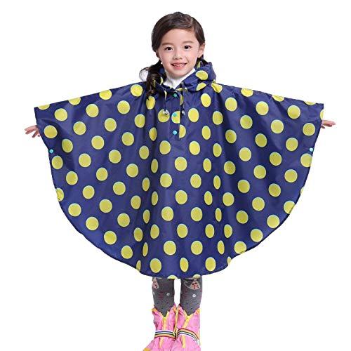 Punto d'onda cartoon con cappuccio poncho del capo in stile bambini dell'impermeabile per ragazzi e ragazze blu/l