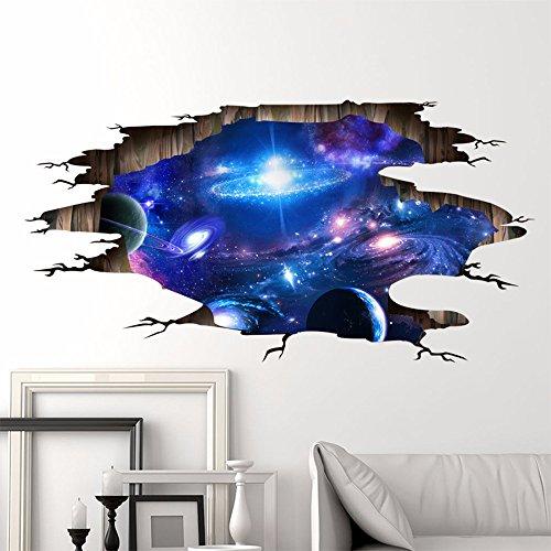 3D Stereo Wall Sticker Wohnzimmer Schlafsaal decke Dekoration fantasy space Planet 3D-Universum Galaxy 113 x 58 cm (Decke Dekoration)