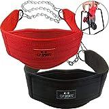C.P. Sports Trainings Dip Gürtel Dipgürtel, Schwarz oder Rot extra Lange Kette One Size