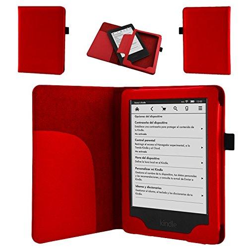 NAUC Tasche für Amazon Kindle Paperwhite 2014 Hülle Cover Case Etui Schutzcover Rot
