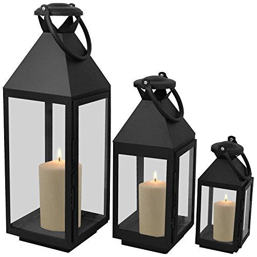 Wohaga 3er Set Laternen mit Henkel H55,5/40/25cm aus Metall/Glas Laternen Windlichter Gartendekoration Schwarz - 5-laterne
