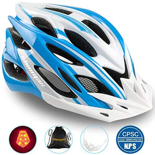 Shinmax Fahrradhelm mit LED-Licht, Einstellbarer Sicherheitsschutz Leichter Fahrradhelm für Fahrradfahren BMX Scooter Skate Mountain Road Fahrradhelm mit CE Zertifikat -