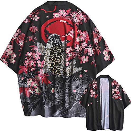Aiserkly Mode-Liebhaber Individualität Print Top Bluse Kimono Hot Spring Kleidung Schwarz M