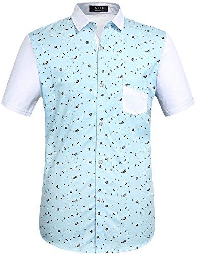 SSLR -  Camicia Casual  - Uomo Sky Blue (Pocket) X-Large
