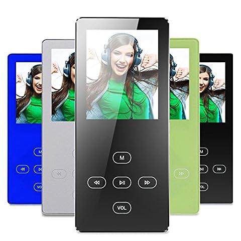 MP3 Player, FecPecu 8GB Hi-Fi Klang 30 Stunden Wiedergabe Metall Touch-Taste Musik-Player, MP3 Player Eingebaute Lautsprecher, Erweiterbar auf bis zu 32GB