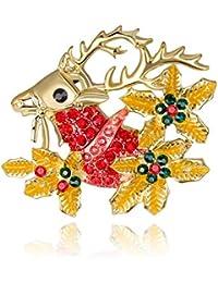 Weihnachtsmann auf Elch Strass Brosche Weihnachten Pullover Kragen Dekoration