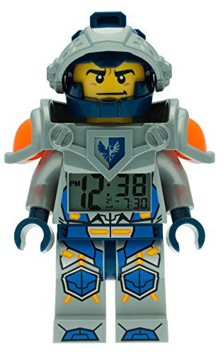 LEGO Nexo Knights 9009419 Clay Kinder-Wecker mit Minifigur und Hintergrundbeleuchtung| blau/grau| Kunststoff| Gehäusedurchmesser 25mm| 24 cm hoch| LCD-Display| Junge/Mädchen| offiziell
