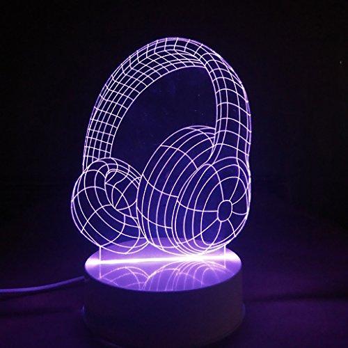 3D Illusion LED Nachtlicht, 7 Farben blinken, Touch-Schalter USB Powered, Schlafzimmer Schreibtischlampe für Kinder Geschenke Dekoration Ideal Kunst und Handwerk (Headset) Batterie-powered-headset