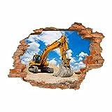 nikima 049 Wandtattoo Bagger Baustelle - Loch in der Wand - in 6 Größen - Coole Kinderzimmer Sticker und Aufkleber Wanddeko Wandbild Junge Mädchen (1000 x 700 mm)