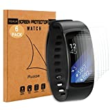 [6-Pack] Samsung Gear Fit 2 Screen Protector, Rusee [Full Coverage] HD Clear PET Invisible Anti-Scratch Anti-Bubble Installation Protection Film Cover for Samsung Gear Fit 2
