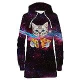 Bfustyle Frauen Damen Hoodie Kleid Herbst 3D Katze Gedruckt Mit Kapuze Pullover Sweatshirt Kleider Für Jugend Mädchen L