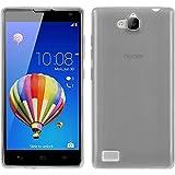 PhoneNatic Case kompatibel mit Huawei Honor 3C - weiß Silikon Hülle transparent + 2 Schutzfolien