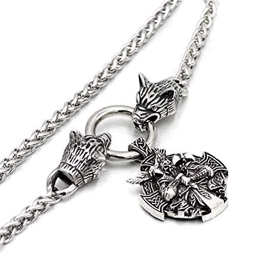 Nordic Crown (Nordic Crown Odin Anhänger Wolfskopf Halskette-Celtic Handmade Edelstahl Vintage Talisman, Vikings Pagan Schmuck Amulett, Valentine Hochzeitsgeschenk,60cm)
