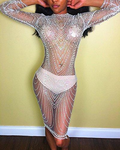 DuuoZy Frauen sexy Sheer Mesh Langarm Paillettenkleid Frauen O Hals funkeln sehen durch Bodycon Club Wear Night Out Glitter Kleider für Party , Weiß , XL (Couture Nachtwäsche)