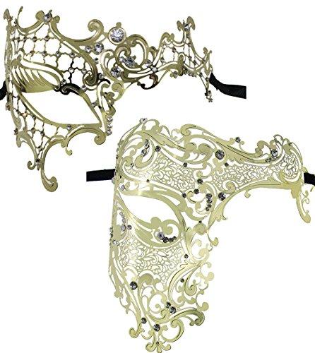 Masquerade Paare Kostüm - 2 Satz Satz Paare venetianische Masquerades halbes Gesichtsmasken-Kostüm-Partei-Zusatz