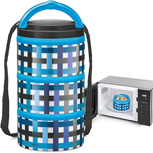 Milton Homery 4205 Lunchbox aus Edelstahl, isoliert, mikrowellengeeignet, 3 Ebenen 3 Ablagefächer Blue Checkers