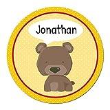 Papierdrachen 24 Individuelle Aufkleber für Kinder - Motiv Bär - Personalisierte Sticker - Schule Einschulung