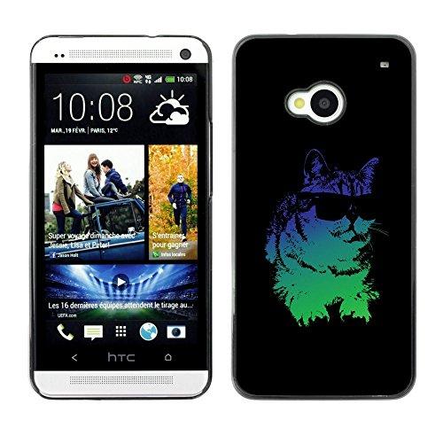 Plastic Case Schutzhülle || HTC One M7 || Cat Sonnenbrille Psychedelische Neon-Kunst-Zeichnung @XPTECH