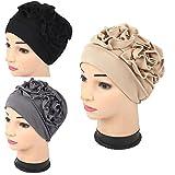 Luckystaryuan ® 3 Pack Damen Chemo Hut Mütze Turban Kopfbedeckungen zum Krebs Patienten (Stil 1)
