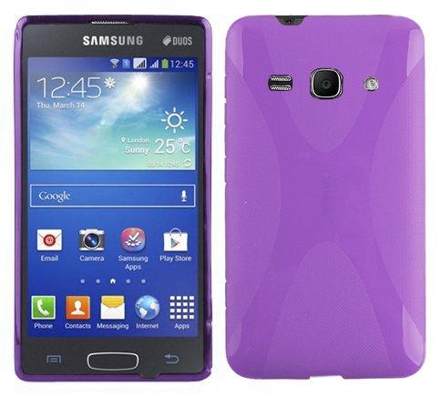 Preisvergleich Produktbild Cadorabo Hülle kompatibel mit Samsung Galaxy ACE 3 Hülle in FLIEDER VIOLETT Handyhülle aus flexiblem TPU Silikon im X-Line Silikon Schutzhülle