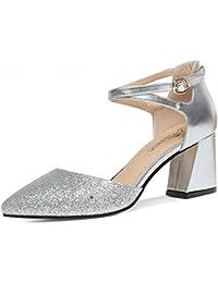 LISABOBO Zapatos de mujer PU Primavera Verano tacones suelas de luz baja talón señaló Toe hebilla Casual Oro Plata...