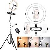 K&F Concept Ring Light, Luce ad Anello LED 5500K, Luce Anello Dimmerabile con Treppiedi 200cm e clip per Microfono e Telefono