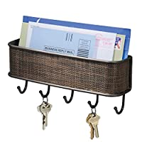 Perfect for keeping keys organized;Features 5 hooks;Wall mounting hardware included;Made of durable steel with woven plastic accents;8 x 1.25 x 2.75