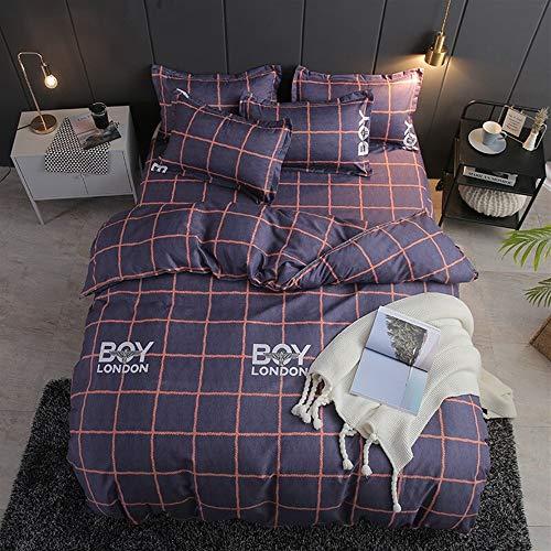 UOUL Bettwäsche Set Baumwolle 4 Stück Atmungsaktiv Pflegeleicht Plaid Einfach Geeignet Für Jugendliche Erwachsene Schlafzimmer Twin 1,5x2m,Orange Blue,California King -