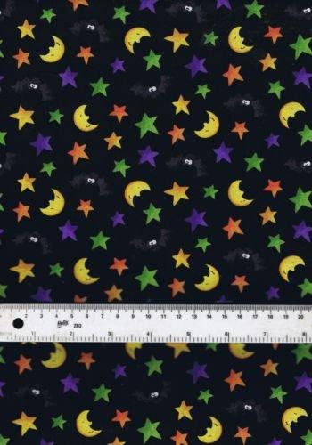 Fat Quarter Happy Haunting Toss Monde Sterne Fledermäuse 100% Baumwolle Quilten Stoff (Quilten Stoff Halloween)