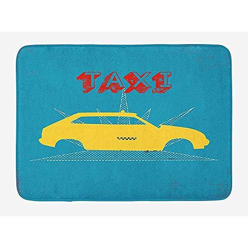 Ruan-Shop Retro Bad-Matte, EIN altes Fahrerhaus-Auto mit Schmutz-Taxi-Typografie-Automobil-Grafikdesign-Fußmatten-Benzin-Blau-Gelb