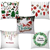 ARTSY HOME Merry Christmas Printed Micro Jute Designer Decorative Throw Pillow/Cushion Covers - Set of 5 (16 x 16 inch)