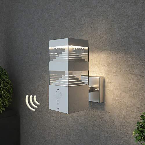 NBHANYUAN Lighting® Wandlampe/Außenlampe Gartenleuchte LED Aussenwandleuchten für Balkon, Haus Silber Edelstahl 3000K Warmweiß Licht 220-240V 1000LM 9W IP44 (mit PIR Sensor)